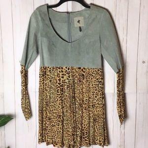 RARE ! ! One Teaspoon | Suede Leopard Skater Dress